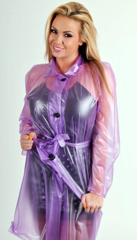PVC Raincoat transparent lilac