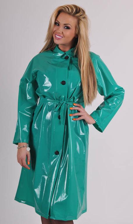 PVC Raincoat Shiny Green