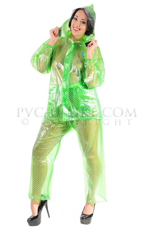 PVC Regenanzug transparent grün