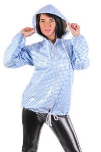 PVC Regenjacke weiß / blau kariert
