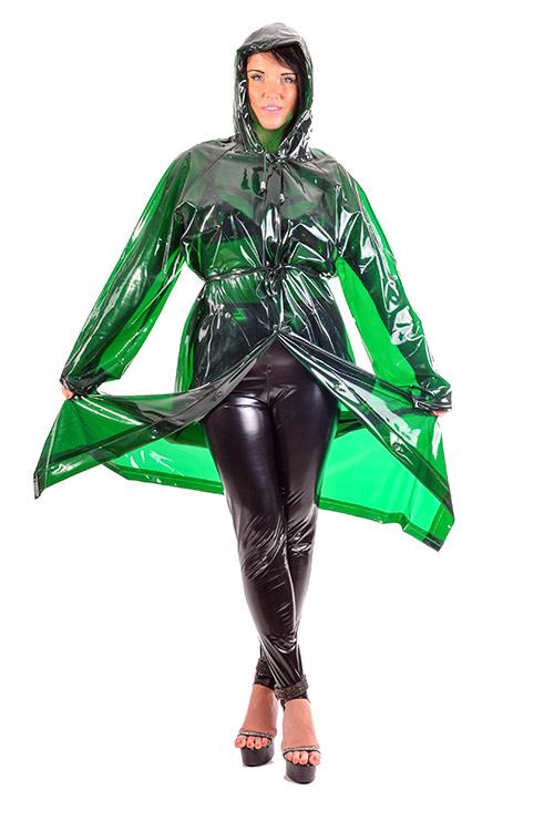 PVC Regenmantel glasklar grün