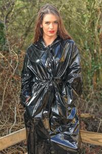 PVC Regenmantel - hochglanz schwarz