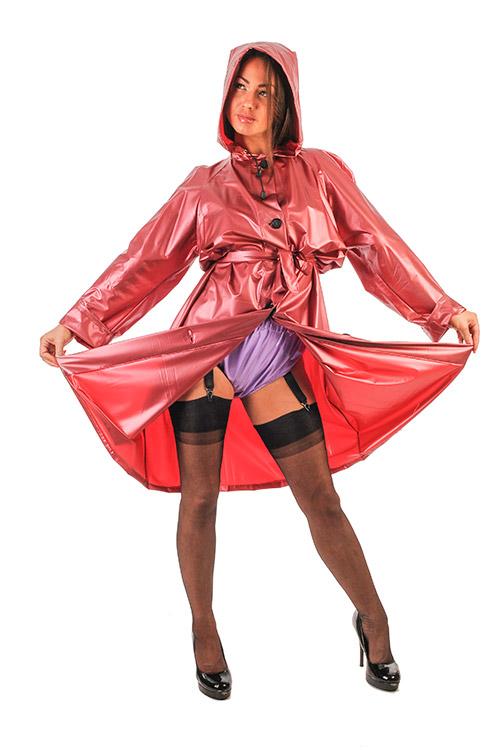 Regenmantel Vintage in der Farbe Pearlised Rot